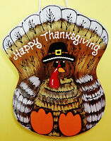 Handcrafted Thanksgiving Turkey Sign Holiday Wall Door Hand Painted Plaque