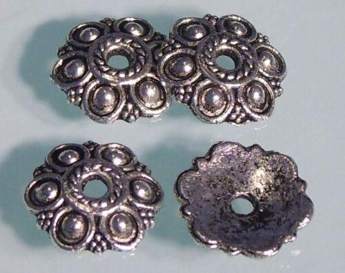 ♥ Perlenkappen Endkappen 14mm groß silber 4 Stk ♥ Z082