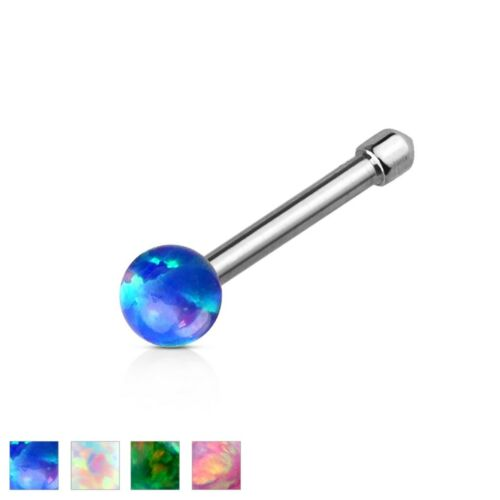 20g Opal Ball 316L Surgical Steel Nose Bone Stud Ring Body Jewelry Piercing