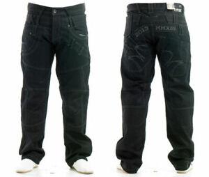 Mens-Regular-Fit-Jeans-100-Cotton-Black-Coated-Denim-Pants-Straight-Leg