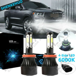 H11 LED Headlight Bulbs Kit CREE 6000K for Dodge Durango 2014-2017 Fog Light