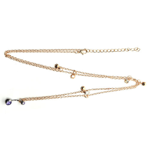14G Crystal Navel Belly Button Ring With Waist Chain Body Piercing Women`US