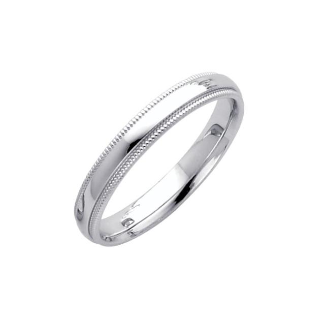 Solid 14K White Gold Wedding Band 3mm Milgrain Comfort Fit Size 5 1//4 1//2 3//4