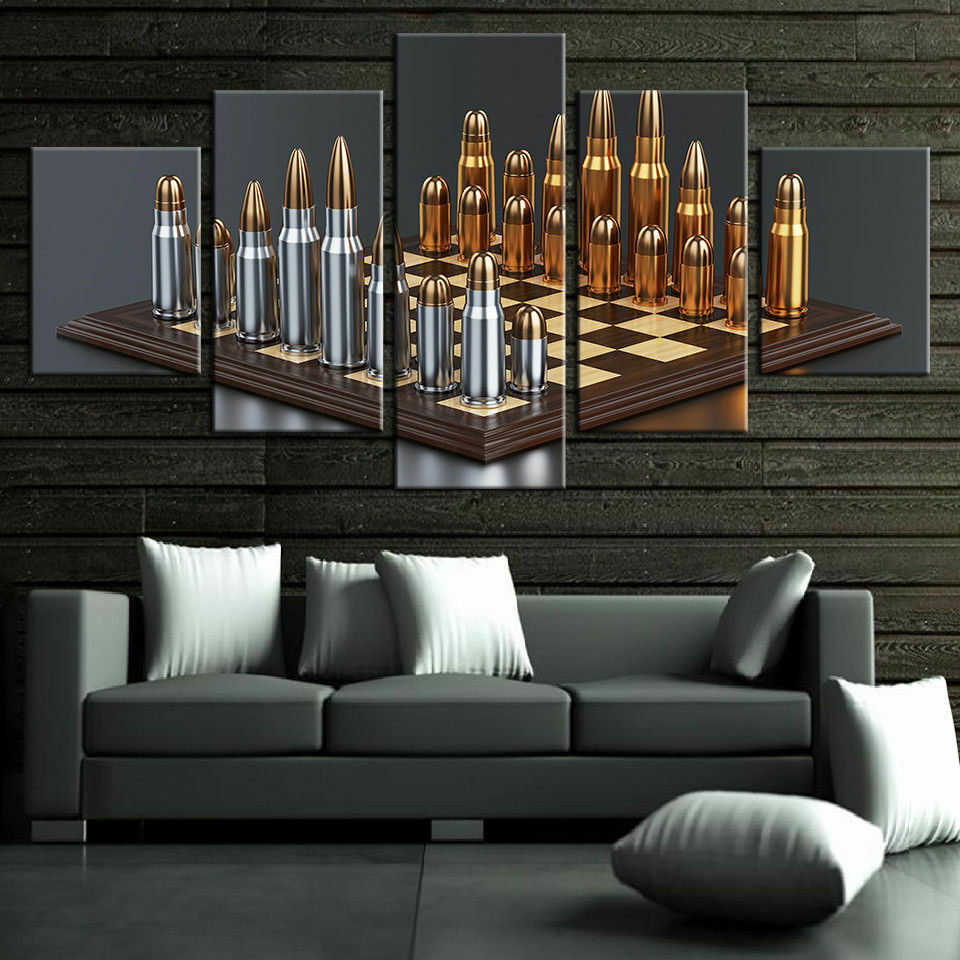Bullets Chess Game 5 panel canvas Wall Art Home Decor Poster Print