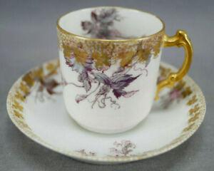 Haviland Limoges Pink & Blue Floral & Gold Demitasse Cup & Saucer C. 1888-1889
