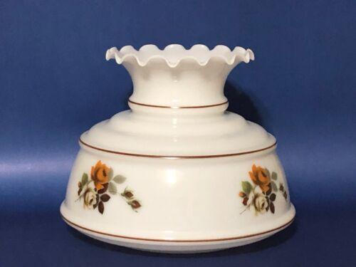 "Vintage Quoizel GWTW 7"" Fitter Rose Hurricane Oil Glass Lamp Shade"