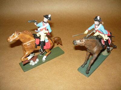 2 Soldatini Francesi A Cavallo In Composizione Mini Forma No Lineol Elastolin Alleviare Il Calore E La Sete.