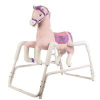 Girls Rocking Horse Toddlers Kids With Springs Sound Ride Toys Galloping Pink