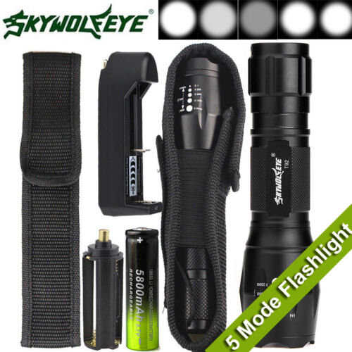 Tactical T6 Zoomable LED Flashlight X800 G700 Torch Lamp + Battery + Charger
