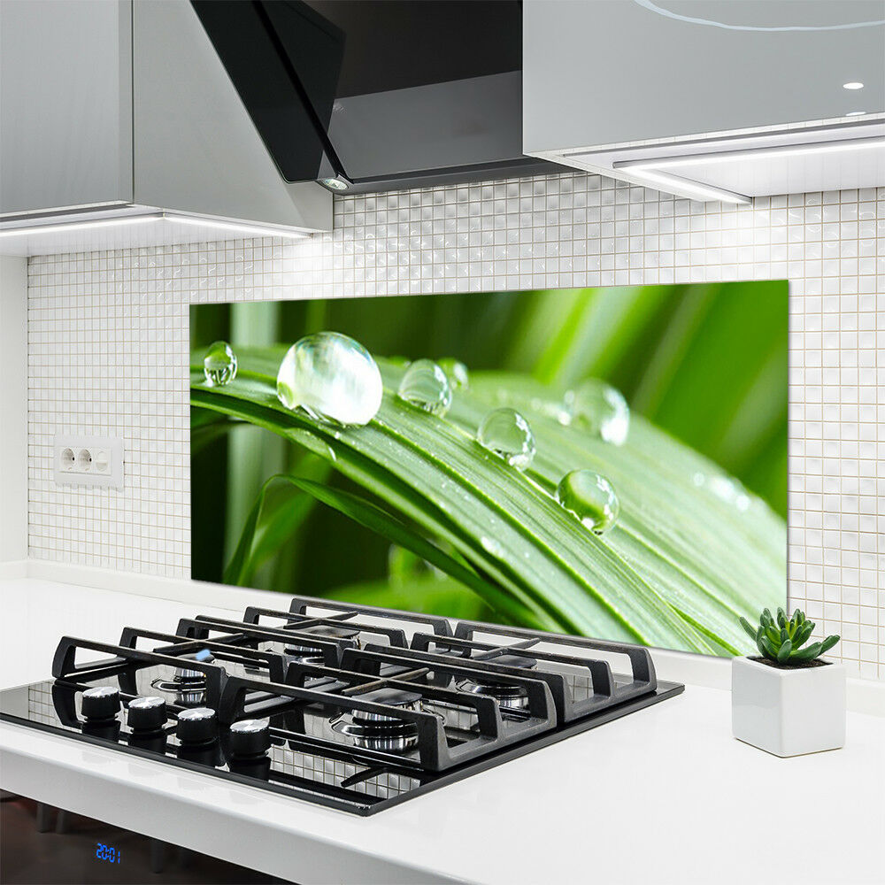 Crédence de cuisine en verre Panneau 120x60 120x60 120x60 Floral Feuille Rosée Gouttes 9d338d
