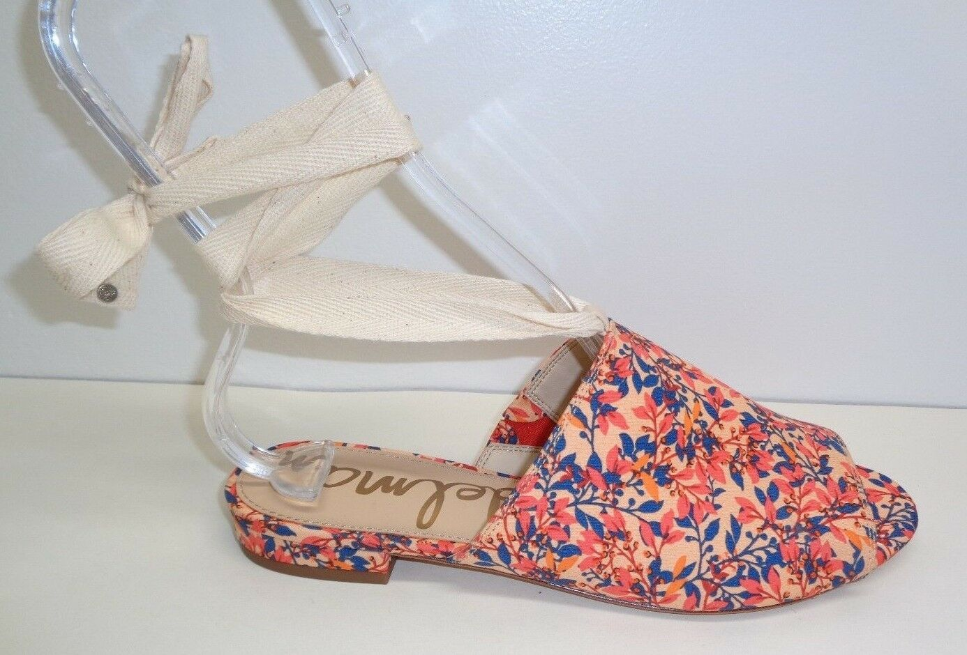 Sam Edelman Größe 6.5 M TAI Coral Fabric Ankle Wrap Sandales NEU Damenschuhe Schuhes