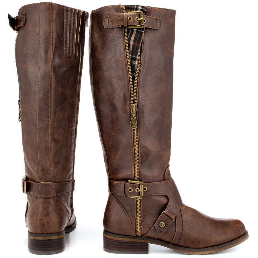 G by Guess Hertlez Medium Braun Leder Fashion Knee-High Stiefel WIDE CALF SIZE 6