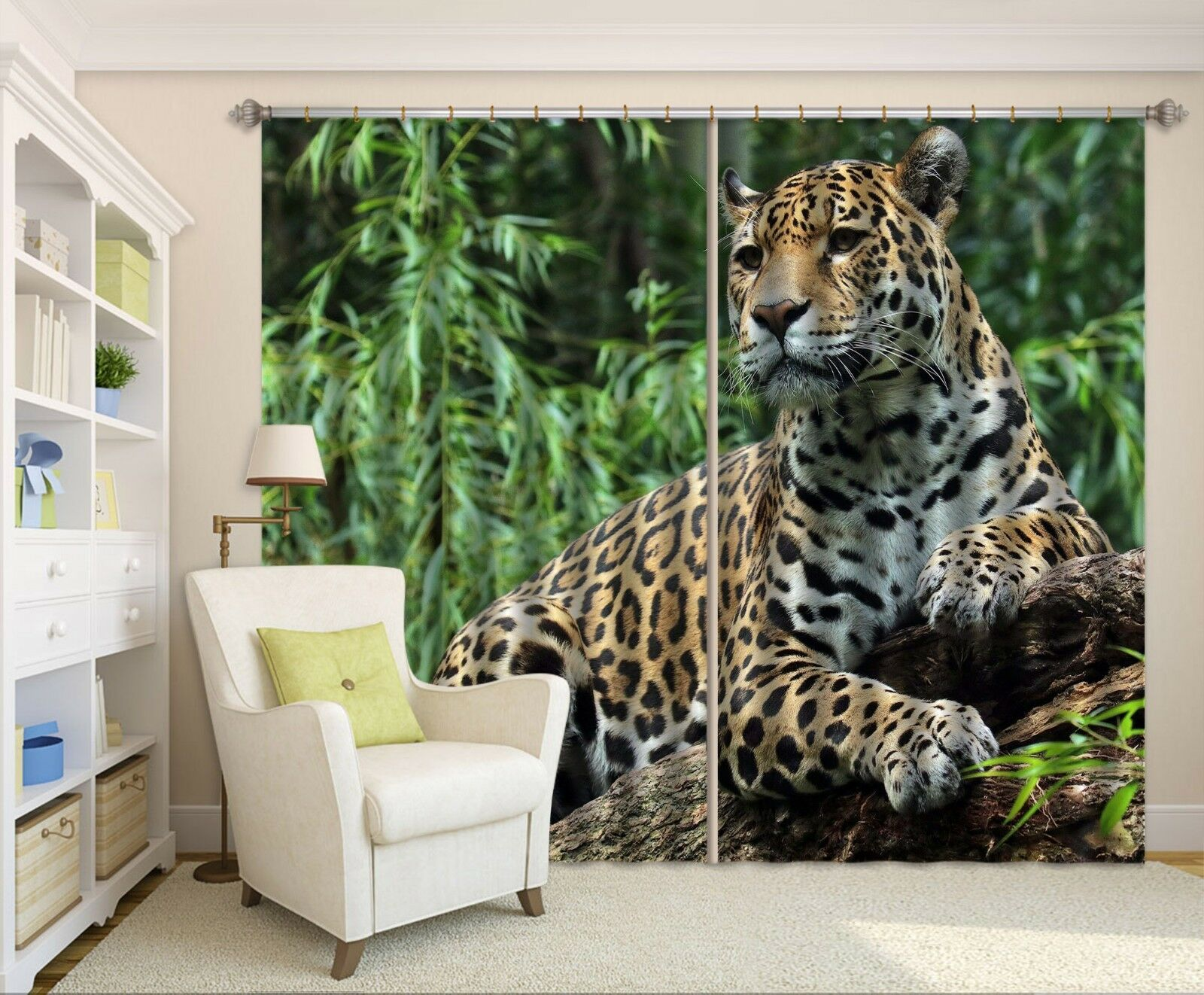 3D Leopardo 717 Cortinas de impresión de cortina de foto Blockout Tela Cortinas Ventana CA
