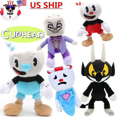 Cuphead Mugman Ghost Chalice Devil Boss King Dice Plush Figures Baby Doll Toy