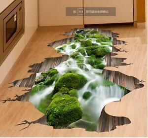 3D Bach Fluss Teich Boden Wand Aufkleber Decal abnehmbar Sticker Bad ...