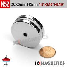 2pcs 38mm X 5mm Hole 5mm N52 Rare Earth Neodymium Magnet Ring Disc 1 12x316
