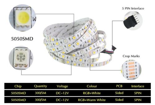 5m LED Streifen RGB RGBW 4in1 Warm Kalt Weiss IP65 Wasserfest Stripe Leiste Band