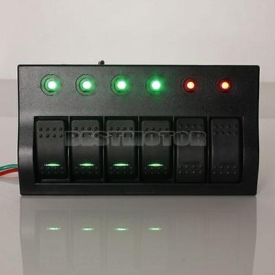 Marine DC 12V / 24V Blue LED Boat Car 6 Gang Circuit Rocker Switch Panel Breaker