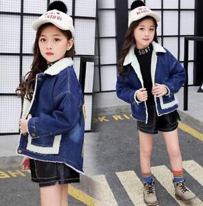 Winter Baby Toddler Kid Denim Coat Boys Girls Warm Jean Jacket Fleece Outerwear