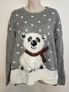 Holiday-Time-Size-L-12-14-Ugly-Christmas-Sweater-Grey-with-Fuzzy-Polar-Bear