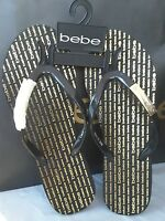W Tags Bebe Sandals, Flip Flops Black W/gold Band Logo Small Size 6-6.5
