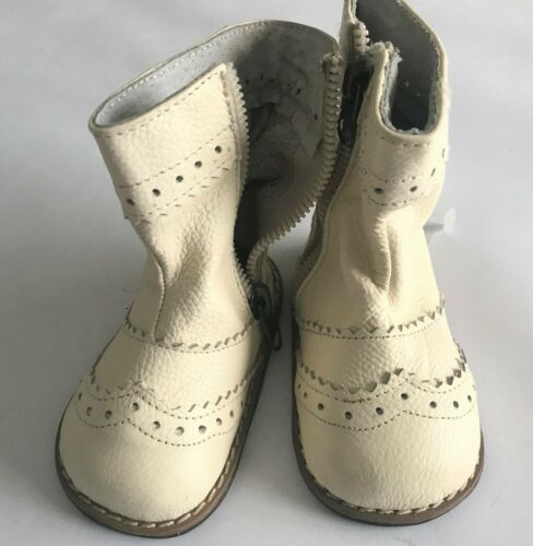 "Unique Leather Ivory Boots for a 27/"" Doll S011"