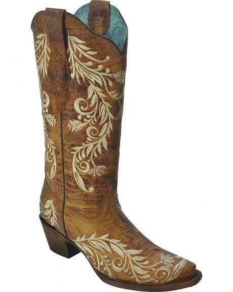 Corral Ladies 13  Snip Toe Leather Cowboy Western Boots Sand A3072