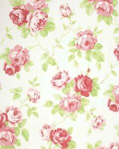 Tanya-Whelan-Cottage-Shabby-Chic-Cotton-Fabric-Lulu-Roses-Lulu-PWTW092-White-BTY