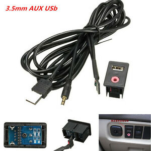 Flush Mount USB AUX 3.5mm Headphone Male Jack Mounting Adapter Panel Input Lead