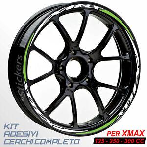 Adesivi-cerchi-ruote-XMAX-125-250-300-cc-set-profili-BIANCO-VERDINO-R-5t