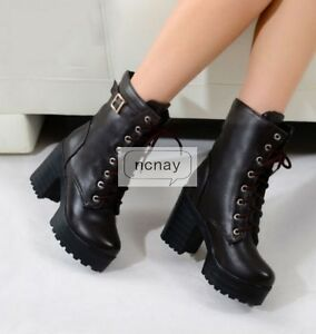 Womens-Chunky-Punk-platform-High-Heel-Lace-Up-Buckle-Punk-Ankle-Boots-Shoes-NC