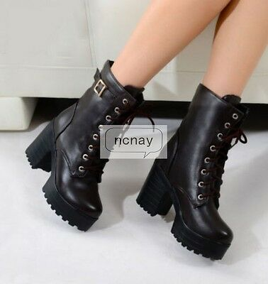 Goth Womens Chunky Punk platform High Heel Lace Up Buckle Punk Ankle Boots Shoes