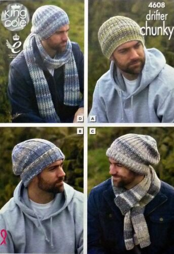 Knitting Pattern Mens Easy Knit Hats And Scarves Drifter Chunky King