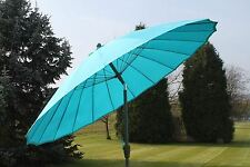 2.7m Aqua Crank Parasol Garden Patio Umbrella Sun Shade Aluminium Frame Blue New