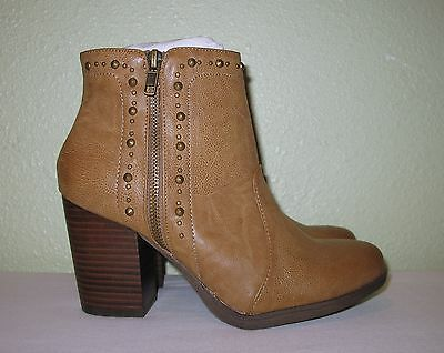 WOMENS SHOES BEIGE MIA ANKLE DOUBLE ZIP BOOTS BOOTIES NEW US 8 M EUR 38 38.5 39