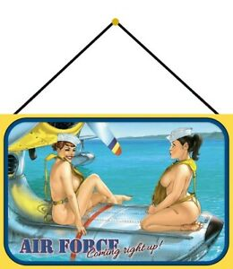Air-Force-Pin-up-Girl-Tin-Sign-Shield-with-Cord-7-7-8x11-13-16in-CC0300-K