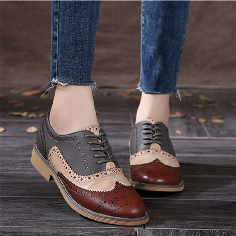 New Women Fashion Leather Flat Brogues Oxford Lace Up  Low Heel shoes Size 8