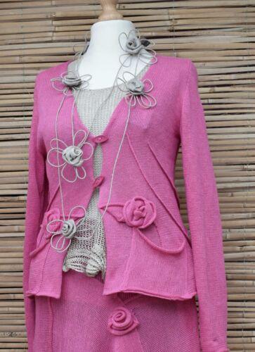 Linen Pure 2 L Applique Bart taglia design rosa Cardigan Zuza Made Pockers Hand BqHpxXw