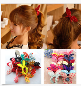 10Pcs-Women-Girl-Rabbit-Ear-Scrunchie-Hair-Band-Rope-Elastic-Tie-Ponytail-Holder