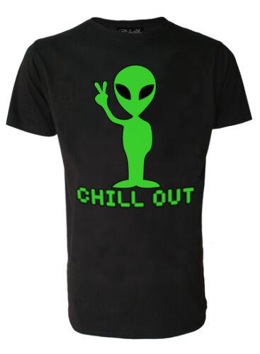 Darkside Mens T Shirt Alien Black Tee /'Chill Out/' Size S M L XL  Medium Large