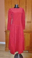 LAURA ASHLEY Vtg RED Corduroy Cotton Victorian Country Boho DRESS UK 10 US 6