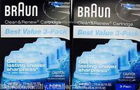6-pack, Braun Clean & Renew Cartridges Refills Ccr3 Fits For 3 5 7 9 Shaver