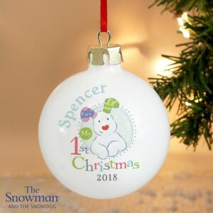 Personalised The Snowdog My 1st Christmas Baubles Baby S First Xmas