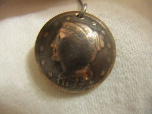 HAND MADE OLD U.S. ORIGINAL LARGE CENT PENDANT , DOMED COPPER 1C BRAIDED HAIR