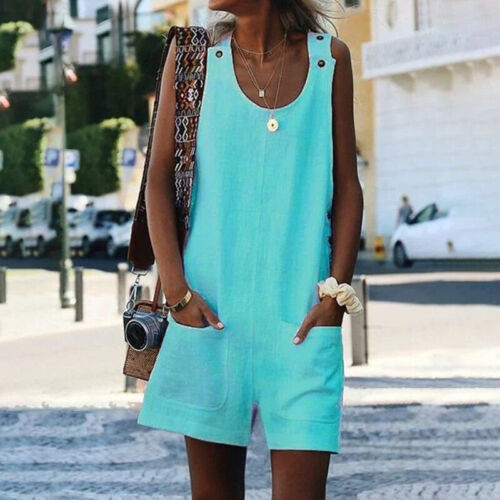 Women/'s Summer Mini Playsuit Jumpsuit Plus Size Romper Shorts Dungaree Overall