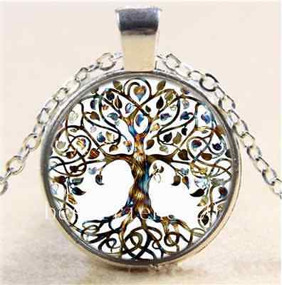 Hot Tree Of Life Photo Cabochon Glass Bronze/Silver Chain Pendant Necklace