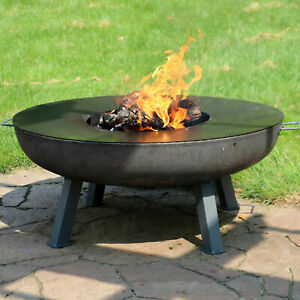 """Sunnydaze 40"""" Fire Pit Cast Iron Wood-Burning Fire Bowl with Cooking Ledge"""