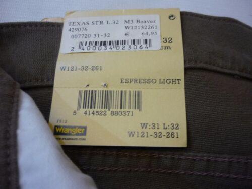 WRANGLER Texas Uomo Stretch Pantaloni-Espresso LIGHT w30//l34 NUOVO