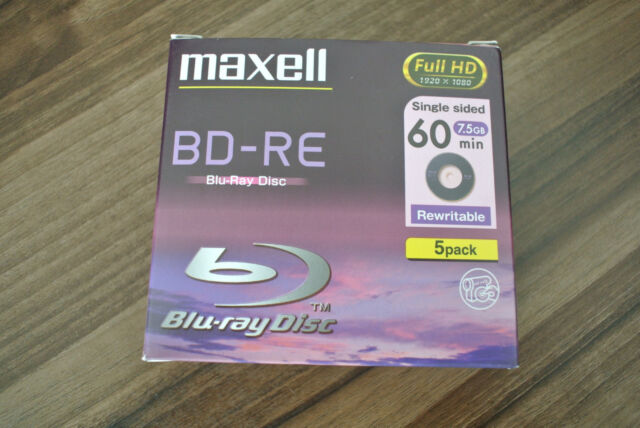 Maxell 5 Pack BD-RE Blu-Ray Disc Full HD 1920x1080 60min 7 5GB Rewritable  Sealed
