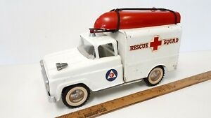 1960-TONKA-Rescue-Squad-Truck-w-Boat-Very-Rare-Great-Original-Condition